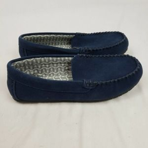 Lands' End Flannel Lined Moccasin Slippers Navy